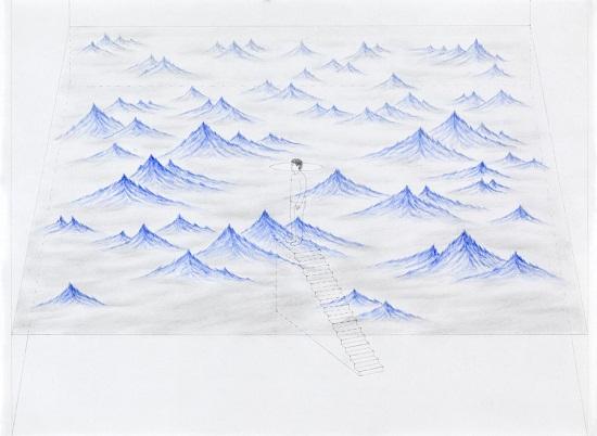 가장 푸른 곳, 종이위에 울트라마린 과슈, 연필, 39x54cm, 2010