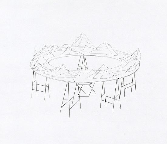 파노라믹 아이-'가장 푸른 곳' 순간이동장치, 종이위에 연필, 39x54cm, 2010(부분)