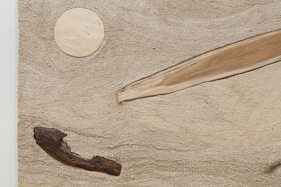 The Waves In The Breeze, 2015 Silk, Jute, Cotton and Wood 290cm x 170cm x 3cm Installation view at Collect, Saatchi Gallery, London