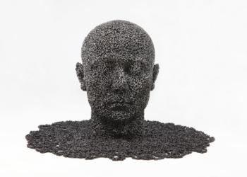 sculpture coréenne métal - visage