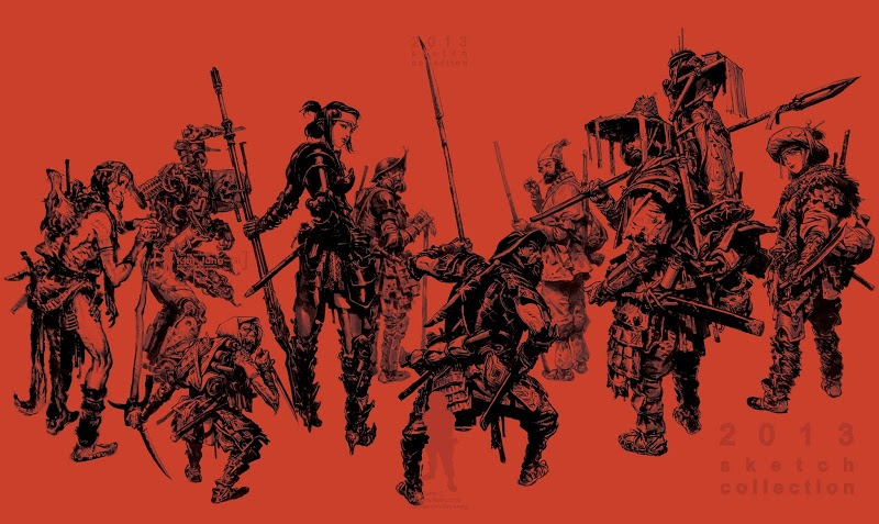 dessin rouge samourai - kim-jung-gi