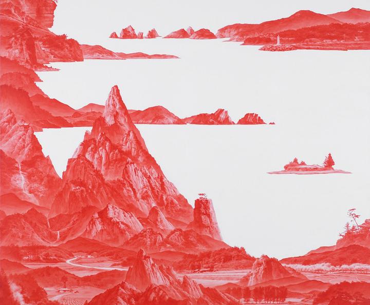 Sea Hyun lee - peinture rouge montagnes corée