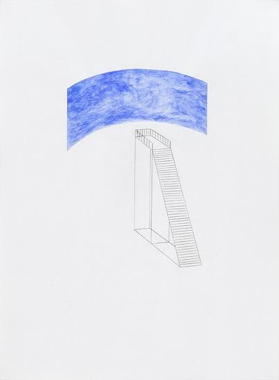 전망-그녀의 바다에서 그의 하늘까지:그녀의 산과 그의 구름사이, 종이위에 울트라마린 과슈,연필, 54x39cm, 2010